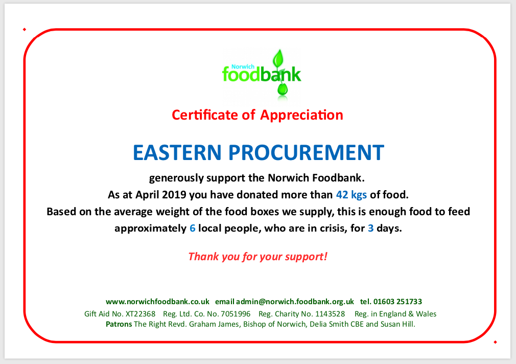 Ep Foodbank Appeal Thank You Eastern Procurement